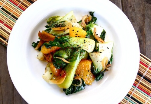 Baby Bok Choy with Crispy Garlic Orange Sesame Sauce