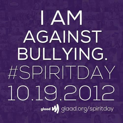 Join me tomorrow in celebrating Spirit Day and wearing Purple. STAND UP AGAINST BULLYING!