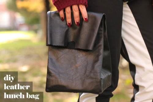 DIY Jil Sander Leather Lunch Bag from Syl and Sam for Chictopia here. I posted two more Jill Sander knockoff lunch bag tutorials here (one is a no sew project).
