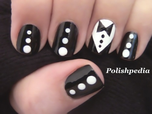 beautylish:  Polishpedia X. dresses up her nails with a tuxedo and bow tie!