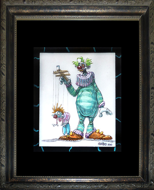 """Killer Klown 2"" by Charlie Chiodo 8""x10"" framed watercolor on paper$175.00"