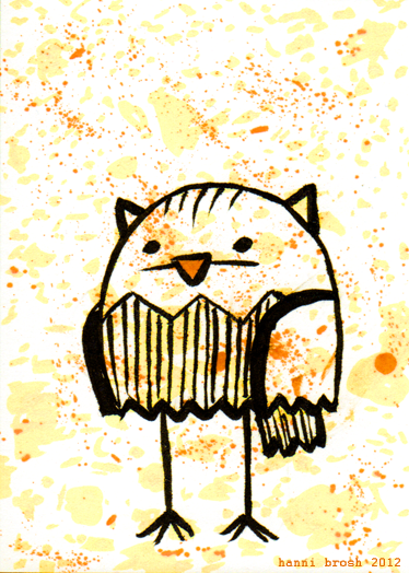 Owltober 18th. do you know? highlighter is impossible to scan :< 2nd of 3 owls based off my ghost trio (by chris yates)