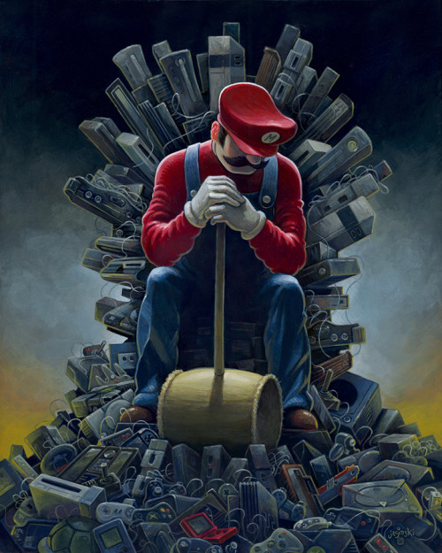 Artist Aaron Jasinski created a brilliant Game of Thrones / Super Mario Brothers / Donkey Kong mashup painting titled Throne of Games for The Old School Video Game Art Show: Level 2 opening Friday, October 26, 2012 at Gallery1988 Venice in Santa Monica, California. Throne of Games by Aaron Jasinski (deviantART) (Facebook) (Twitter) via jasinskiart