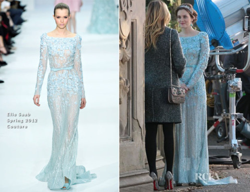 Leighton Meester and Blake Lively were spotted shooting scenes for 'Gossip Girl' in Central Park yesterday. Like many of you, I checked out of 'Gossip Girl' midway through last season, but this sighting has given me a reason to consider watching the show again (or at least this episode). That's because Leighton was wearing an Elie Saab Spring 2012 gown. Her light blue long-sleeved embellished floral appliqué gown with an open neckline and cinched-in waist accented with tonal waistband was styled with a diamond-encrusted leafy tiara and turquoise earrings. You may recall that Katy Perry wore a similar gown from the same collection to the Grammy Awards earlier this year.  Source