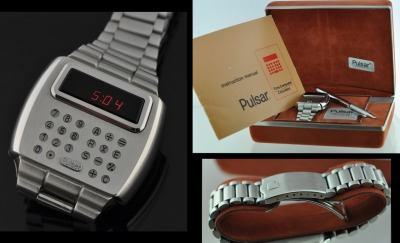"The ultimate nerd watch! Not happy with your black plastic Casio Databank calculator watch?  Go for this stainless steel nerd beauty!  At 43mm wide it is a pretty decently sized watch, even if the buttons are so small you have to used the enclosed pen to push the buttons on the watch. I especially like the red LED readout, so 1970s!  These LED watches tended to drain the battery so like any watch of this era, you have to push the button to turn it on and get the time.  In this case, you push the ""Pulsar"" button and look quick because the time will only stay on for a few seconds.  Again, with that pen. I can assure you that the current price of this collectible marvel, $1,650 at WatchestoBuy, was not anywhere close to the original retail ($395).  And don't forget the batteries.  You need four watch batteries to power this thing, that would only last a few weeks. I imagine with the four battery weight, the size of this case, and the unlimited calculating ability, this watch made a man feel fierce and very space-age in the 1970's. Now, we would associate this kind of watch with the Star Wars-hacker-fan boy geek stereotype.  But I bet a watch collector (a nerd of totally different stripe, by the way (right….)) will snap up this unused, still in the box beauty in less than a couple of weeks."