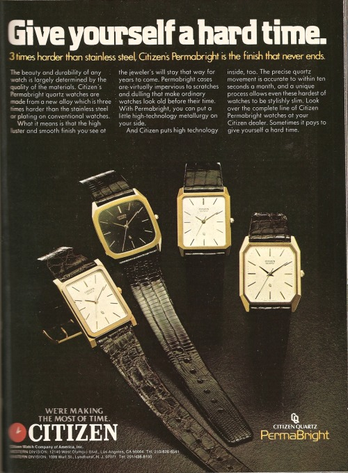 Citizen. Ad from Playboy, December 1981.