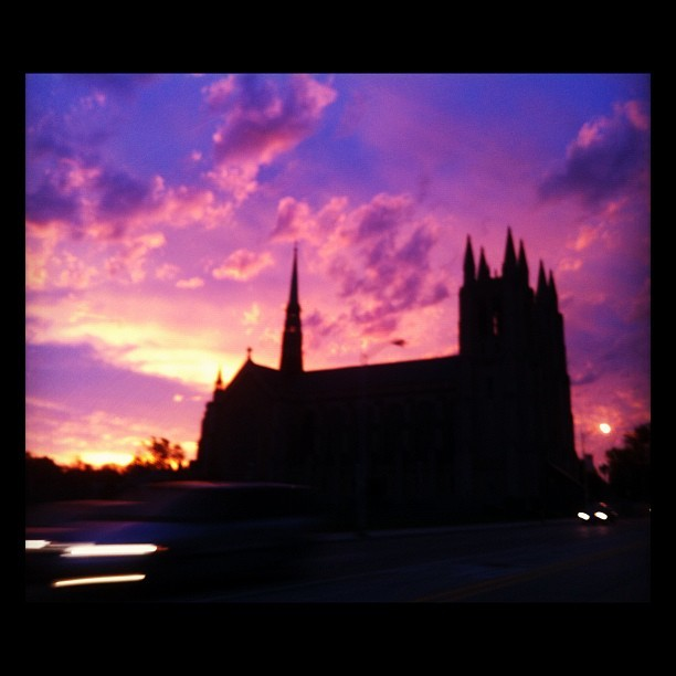 Woodward this morning #detroit #sunrise #sky #church #gothic #architecture #igersdetroit