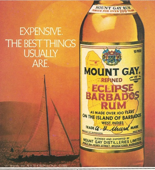 vintagelounge:  Mt Gay. Ad from Playboy, December 1981.