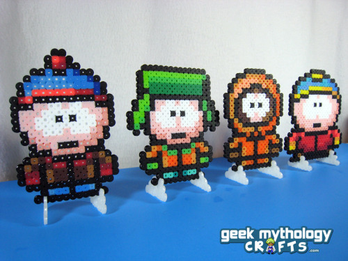 Price Reduced! Set of 4 SOUTH PARK Perler Bead Sprite Characters - Stan, Kyle, Kenny, Cartman with stands Was $18 — Now $14