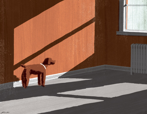 kiuchitatsuro:  A Dog's Grace (by Tatsuro Kiuchi) Inspired by Edward Hopper, I made this piece for the New York Times Townies. A Dog's Grace By KIMBERLEE AUERBACH BERLIN.