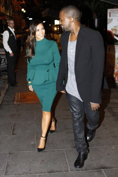 Kanye and Kim, together in Rome on Thursday.