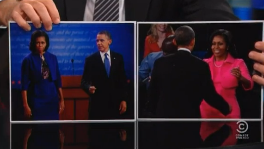 "election:  Tonight on The Daily Show, Jon Stewart made President Obama guess which of these photos was taken after which debate. Obama responded, ""Cute. Cute, Jon."" Watch the full interview. -Matt Wilstein"