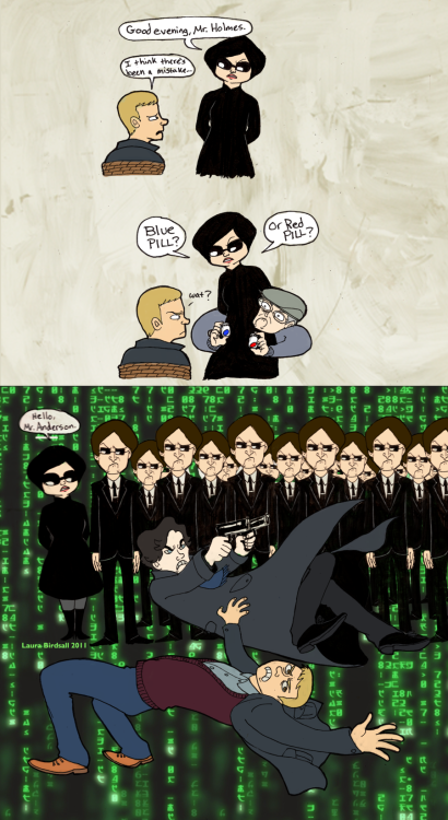 sherlockspaddedroom:  Sherlock Meets The Matrix by ~Pomegranate-Pen  Oh god I almost forgot Teetsmeister and I made this!