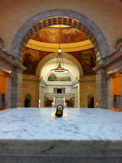 Tiny hobbit visits a state capitol. Can you guess which one?