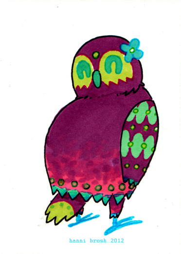 Owltober 19th, ol' swivel-head 3rd of 3 owls based off my ghost trio (by chris yates)