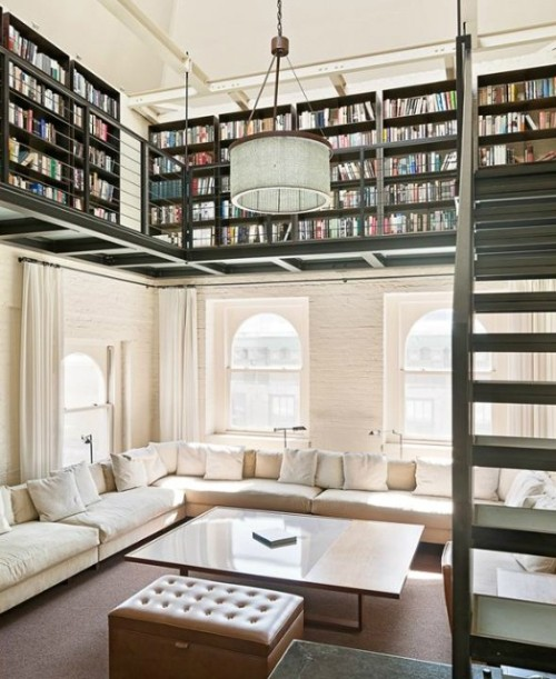 myidealhome:  a real home-library upstairs (via Pics of Creative Wings)