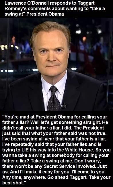 On the 10.18.2012 edition of MSNBC's The Last Word, Lawrence O'Donnell gives Tagg Romney a good spanking over the airwaves.