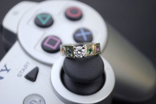 Geeky wedding ring #2: Playstation inspired ring.
