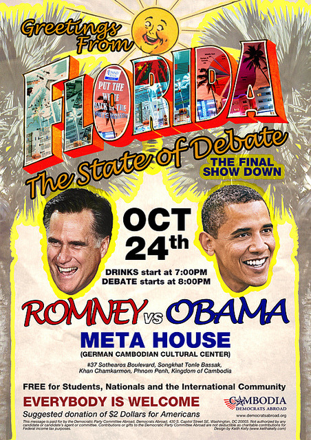"Florida State of Debate: Final Show Down on Flickr. Presidential Debate poster for Cambodia Democrats Abroad event Florida State of Debate: Final Show Down Since I have already gotten comments regarding it, here is the source for the ""Put the White back in the White House."" NO, I didn't make it up. It's in the News and relevant."
