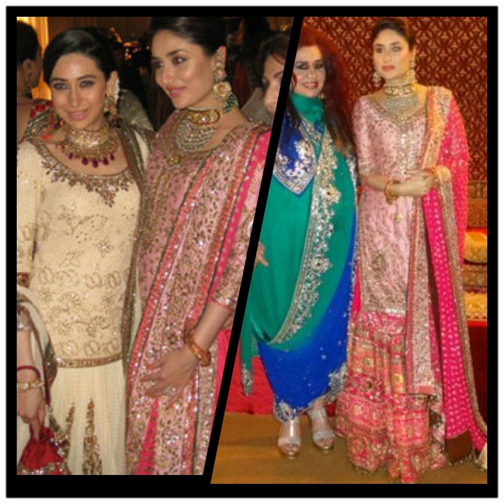 Kareena and Karisma Kapoor looking elegant at last night's Dawat-e-Walima
