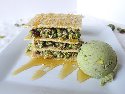 Vegan Recipe | Raw Pistachio Baklava with Pistachio Ice Cream | by Fragrant Vanilla Cake