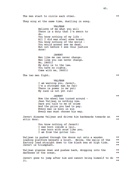 Universal has posted the full shooting script for 'Les Miserables.' Do it.