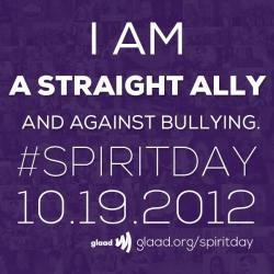 You don't have to be LGBT to be against bullying.    Everyone can go purple for #SpiritDay now at http://glaad.org/spiritday to stand against bullying and support LGBT youth!