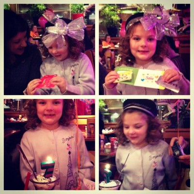 "We had fun celebrating Olivia's Birthday at Red Robin last night. We gave her gift cards to Claire's, Justice & Build-a-Bear. She gave us the ""best gift"" award. What an honor! :) (These kids just got a lot easier to shop for if they are excited about gift cards WOOHOO! *haha*)"