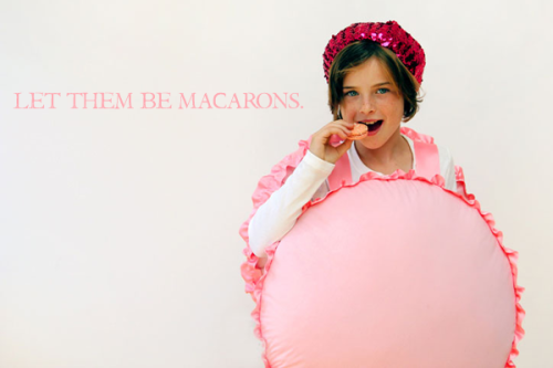 scissorsandthread:  French Macaron Costume | Studio DIY I know that I've only really posted kids costumes for Halloween, but honestly I think they are the cutest and the easiest to modify for adult costumes. A lot of bought costumes for ladies are… basically lingerie with animal ears ('I'm a mouse! Duh!') and I would rather look cute and fun than like I accidentally walked out of a Victoria Secret's changing room. I adore this French Macaron costume - and it looks so comfortable! Plus, I'm not sure when else you can get away with wearing a sparkly pink beret!