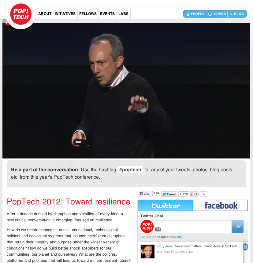 We're huge fans of PopTech. Almost anything they do is worth watching. And to be able to watch it live…!  Tune in: PopTech Camden now streaming live!