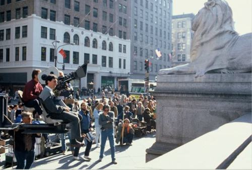 nypl:  Big thanks to Gothamist for sharing classic photos of the filming of 1984's blockbuster Ghostbusters. We're particularly fond of this photo, which includes a cameo by our Library Lion Fortitude.  And that's not all. Take a look here and learn more about the movies and television shows that have included this beautiful library!