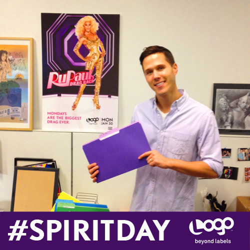 Tim from Consumer Marketing is giving Spirit Day realness! We're celebrating #SpiritDay today at Logo! Keep an eye on Tumblr for our spirit filled frocks!