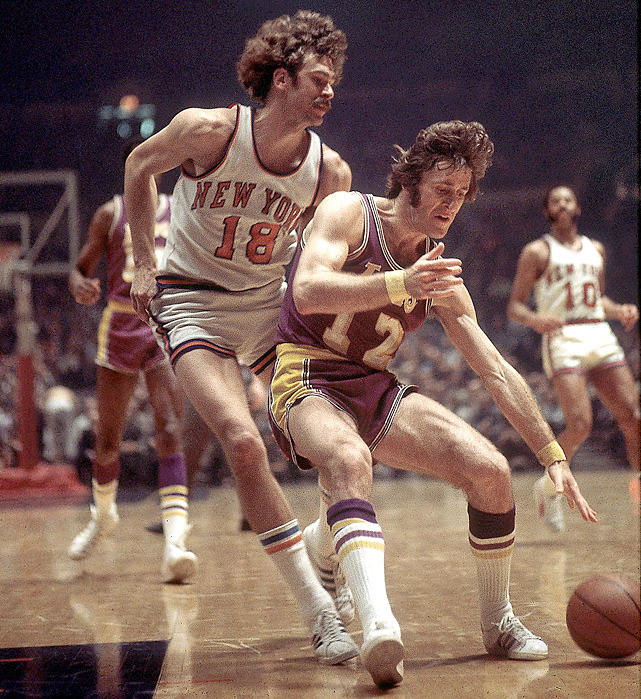 Pat Riley backs down Phil Jackson during a 1972 game between the Lakers and Knicks. The two would win a combined 16 championships as coaches. (Walter Iooss Jr./SI) GALLERY: Classic Photos of Pat Riley | Phil Jackson