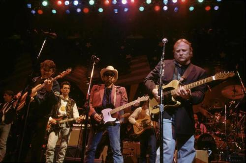 "Rick Danko, Bob Dylan and Stephen Stills at President Clinton's ""Absolutely Unofficial Blue Jeans Bash"", January, 1993."