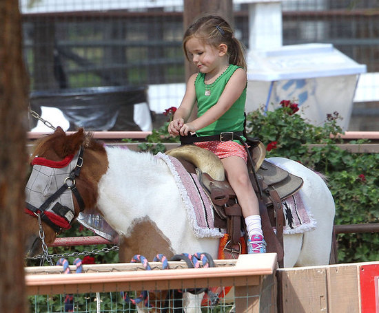 surisburnbook:  Seraphina Affleck does not look impressed by this pony ride. To be honest, I'm with her on this one — if it's not a racehorse bred for speed, why bother? ETA: Several petting zoo aficionados clarified that the horse is wearing a fly mask, which the horse can see through but prevents flies from getting into his or her eyes. It stills seems like a pointless and unpleasant exercise to me. But what do I know? I wouldn't go to a petting zoo if you paid me. I have enough money, and that's how you get meningitis.