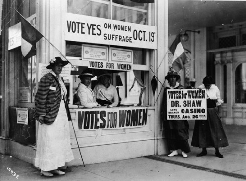 "explore-blog:  Women fought long and hard for the right to vote a century ago, not without resistance. Honor their legacy by making sure your vote counts this season.  Pictured here: Women at a booth implore passers-by to vote ""yes"" on women's suffrage at a vote to be held on October 19, 1915, in New Jersey."