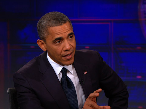 thedailyshow:  Extended Interview: President Barack Obama http://on.cc.com/Pf8tNR  I'd strongly recommend everyone watch Barack on the Daily Show. Tough questions and an excellent interview.