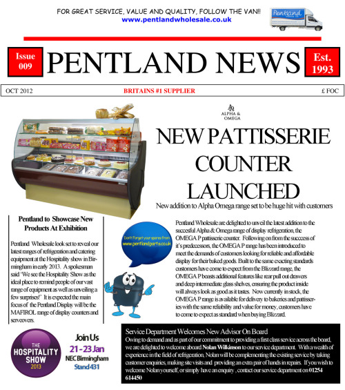 October Edition of Pentland News, Featuring Welcome Nolan, Hospitality 2013 and New Pattisserie Counter range.