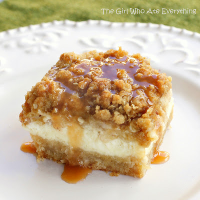 Caramel Apple Cheesecake Bars Ingredients:  Crust: 2 cups all-purpose flour 1/2 cup firmly packed brown sugar  1 cup (2 sticks) butter, softened   Cheesecake Filling: 3 (8-ounce) packages cream cheese, softened 3/4 cup sugar, plus 2 tablespoons, divided 3 large eggs 1 1/2 teaspoons vanilla extract   Apples: 3 Granny Smith apples, peeled, cored and finely chopped 1/2 teaspoon ground cinnamon 1/4 teaspoon ground nutmeg   Streusel Topping: 1 cup firmly packed brown sugar 1 cup all-purpose flour 1/2 cup quick cooking oats 1/2 cup (1 stick) butter, softened  1/2 cup caramel topping Instructions:  Preheat oven to 350 degrees F.  In a medium bowl, combine flour and brown sugar. Cut in butter with a pastry blender (or 2 forks) until mixture is crumbly. Press evenly into a 9x13 baking pan lined with heavy-duty aluminum foil. Bake 15 minutes or until lightly browned. In a large bowl, beat cream cheese with 3/4 cup sugar in an electric mixer at medium speed until smooth. Then add eggs, 1 at a time, and vanilla. Stir to combine. Pour over warm crust.  In a small bowl, stir together chopped apples, remaining 2 tablespoons sugar, cinnamon, and nutmeg.   Spoon evenly over cream cheese mixture.   For the streusel topping: In a small bowl, combine all ingredients. I like to really combine it by using my clean hands to thoroughly combine the butter into the mixture.   Sprinkle Streusel topping over apples.   Bake 40-45 minutes, or until filling is set.   Drizzle with caramel topping and let cool.   Serve cold and enjoy!  **Make 16 servings.