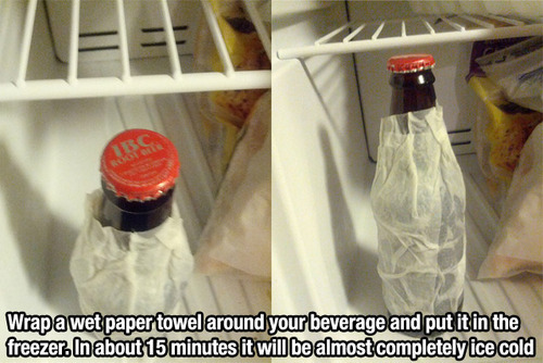 Make your beer cold in about 15 minutes with this Lifehacker tip.
