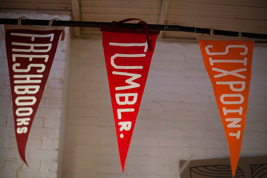 Flags are displayed during the Brooklyn Beta conference in the Brooklyn borough of New York on Oct. 12. Photographer: Mark Ovaska/Bloomberg