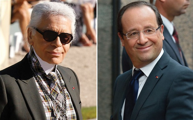 "France: Karl Lagerfeld condemns imbecile Francois Hollande President François Hollande of France is an ""imbecile"" who ""hates the rich"" and whose tax hikes will prove ""disastrous"" for France, controversial fashion designer Karl Lagerfeld has warned. The German haute couture icon's undiplomatic outburst follows a string of attacks on celebrities over their taste and looks. He has recently dubbed British singer Adele ""fat"" and Russian men ""ugly"". This time, however, Chanel's 78-year old creative head trained his fire on France's Left-wing leader, whose government is currently debating 20 billion euros in tax rises for the wealthy and big business and a 75 per cent tax on millionaire earners. Likening Mr Holande to former Spanish prime minister Jose Luis Zapatero, a fellow Socialist, Mr Lagerfeld said: ""He's an imbecile. He will be as disastrous as Zapatero."" ""Hollande hates the rich. It's a disaster. He wants to punish them, and of course, they are leaving, nobody is investing,"" he told Spanish Marie-Claire magazine. ""Foreigners no longer want to invest in France and it cannot work like that."" Mr Lagerfeld's comments joined a chorus of criticism from French business leaders to David Cameron on the left-winger's fiscal policies. Earlier this week, Laurence Parisot, head of employers' group MEDEF, warned France was sliding into a grave economic crisis and risked a full-blown ""hurricane"" as investors flee rocketing tax rates. (via Telegraph)"