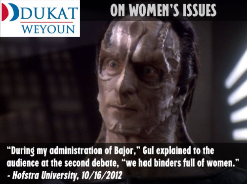 Gul Dukat explains his stance on women's issues at the Hofstra debate.
