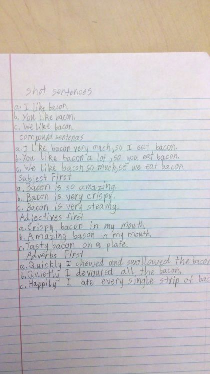 This 6th grade student knows their bacon.