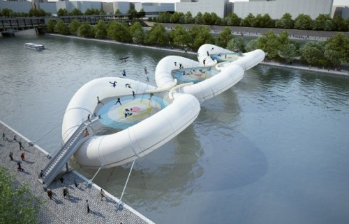 laughingsquid:  Inflatable Trampoline Bridge in Paris