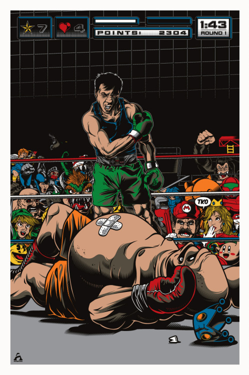 "King Hippo didn't stand a chance in this excellent Punch-Out themed illustration by artist Anthony Petrie that also encapsulates a great deal of other Nintendo icons. This is one of two pieces that Anthony has being shown at Gallery 1988's Old School Video Game Art Show: Level 2 opening Friday, October 26, 2012 at Gallery 1988 Venice in Santa Monica, CA. ""I'll have some more copies for sale after the show is over in my store. Follow me on Twitter for release updates, @zombiebacons."" - Anthony Related Rampages: Bad guys have hearts too (More) G.O.A.T. by Anthony Petrie (Tumblr) (Store) (Twitter) via zombiebacons"