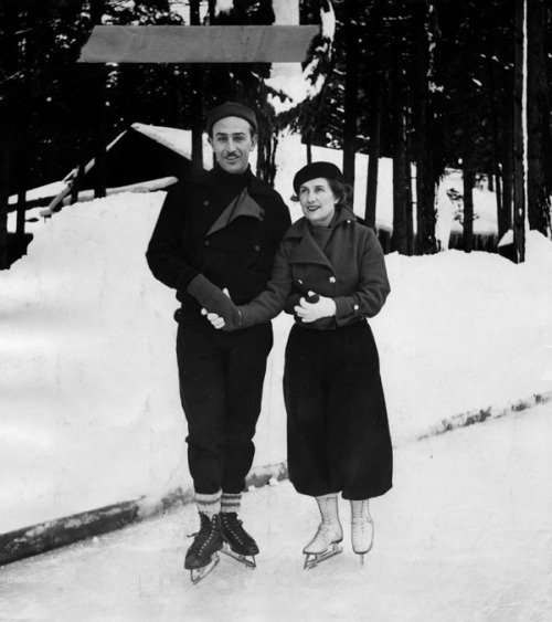 Movie producer Walt Disney and his wife found the winter sports in Yosemite decidedly to their liking in January 1935. It was the Disney family's first experience with winter sports, and they were learning to figure skate before they left Yosemite Valley. Ski-joring was another favorite pastime. The Disneys spent the New Year with Dr. and Mrs. Hartley Dewey, Yosemite, and the rest of the week at The Ahwahnee Hotel.
