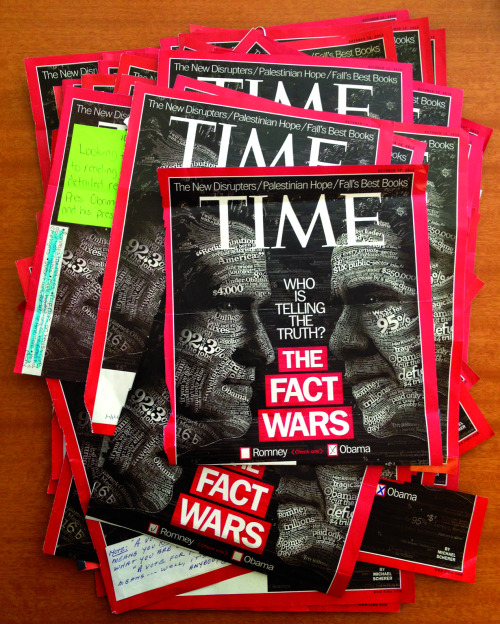 "For our Oct. 15 cover story, ""The Fact Wars,"" we asked readers to cast their ballot for which candidate they thought was telling the truth. Votes arrived on TIME.com, on all our tablet platforms and, of course, through the good ol' U.S. Postal Service.  Here are the results: We received tens of thousands of votes in our instant tablet polls (iPad, Nook, Galaxy and Kindle) and on TIME.com. And to our delight, readers across the country literally tore off the cover and mailed their choice to us. The paper ballots came from 27 states, including one from Hawaii (which, to no surprise, was for Obama). Overall, our very unscientific poll saw Obama with 76% of the truth vote. But don't fret, Romney supporters: in the crucial battleground state of Ohio, he received 75% of the mailed votes. Now it's on to the more scientific poll on Nov. 6. — D.W. Pine and Skye Gurney"