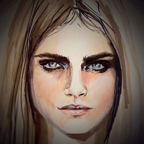 Struck by this muse @caradelevingne breathtaking Cara. #model #portrait #illustration  #inspiration #jessicaraesommer #artist #art #fashion #fashionmodel #fashionillustration