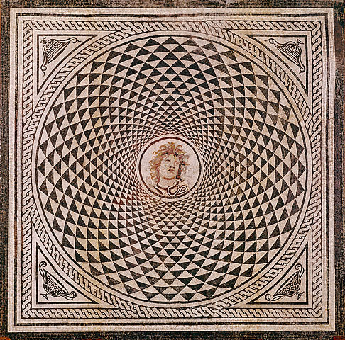 miscellaneous-art:  ancientpeoples Roman Mosaic Floor with Medusa c.115-150 AD